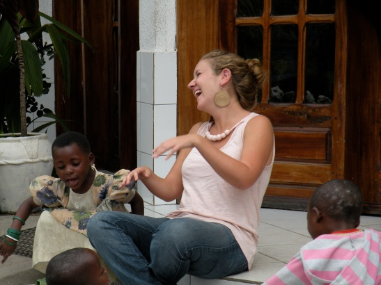 An informal makutano on the stairs. It's hard to beat sharing a good laugh with your students.
